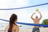 pic of beach-ball  - People playing beach volleyball having fun in sporty active lifestyle - JPG