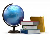 foto of geography  - Globe blank and colorful books global geography knowledge - JPG
