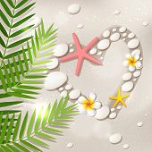 stock photo of frangipani  - Heart shape on the white sand beach with frangipani flowers palm tree leaves starfish and stones - JPG