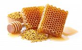 pic of pollen  - Honeycombs with pollen on a white background - JPG