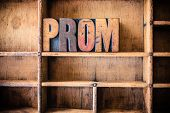 image of senior prom  - The word PROM written in vintage wooden letterpress type in a wooden type drawer - JPG