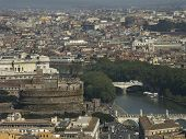 stock photo of elio  - aerial view of rome and st angel castle.