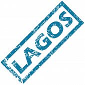 stock photo of lagos  - Vector blue rubber stamp with city name Lagos - JPG