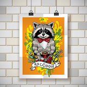 image of raccoon  - Beautiful cartoon poster raccoon drinks black tea - JPG