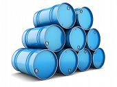 picture of ling  - Barrels steel blue pallet tray isolated oil tanks water metal group - JPG