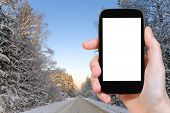 stock photo of snowy-road  - travel concept  - JPG