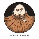 picture of beard  - Hand drawn portrait of bold and bearded man with smoking pipe - JPG