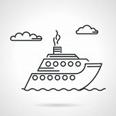 stock photo of passenger ship  - Black flat line vector icon for cruise passenger steamer on white background - JPG