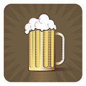 stock photo of beer mug  - Vector icon of beer mug in engraved style on brown background  - JPG