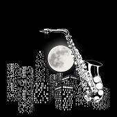 foto of saxophones  - vector illustration saxophone on a background of the moon and city - JPG