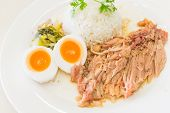 foto of stew  - Stewed pork leg and egg on rice - JPG
