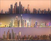 stock photo of dubai  - Collage of the beauty panorama at Dubai marina - JPG