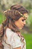 stock photo of tiara  - Beautiful Girl in spring garden - JPG