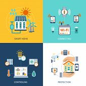 image of composition  - Smart home wireless computer connection controlling and protection systems 4 flat icons composition abstract isolated vector illustration - JPG