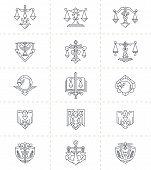 stock photo of symbol justice  - A set of 15 justice symbols - JPG