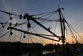 Silhouette of Trawler Net Lifting Gear