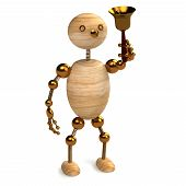 Wood man with school bell