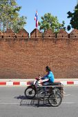 Detail of the city wall near Tha Pae Gate, Chiang Mai, Thailand