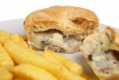 chicken & mushroom pie with chips.