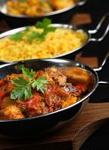 Indian curry dishes.