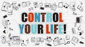 Постер, плакат: Control Your Life Concept with Doodle Design Icons