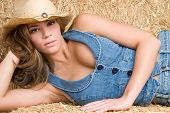 stock photo of country girl  - Beautiful Country Girl - JPG