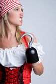 stock photo of wench  - Angry Halloween Pirate - JPG