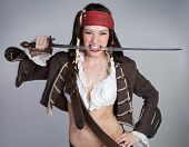 Halloween sword pirate costume woman
