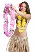 Hawaiian woman giving tropical lei