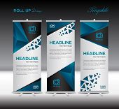 Blue Roll Up Banner Template Vector Illustration Polygon Background poster