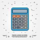 Постер, плакат: Calculator Thin Line Design Calculator Pen Icon Calculator Pen Icon Calculator Pen Icon Drawing