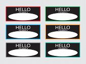 Постер, плакат: Hello My Name Is Sticker Badge Set Black