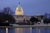 stock photo of capitol building  - this a picture of the us capitol with the national christmas tree in the front - JPG