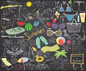 Summer Season Doodles Elements. Hand Drawn Sketch Set With Sun, Umbrella, Sunglasses, Palms And Hamm poster