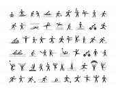 Black Sports Icons Set. Vector Figures Athletes. poster