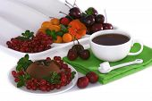 Chocolate Dessert, Focus On Berries And Creme Brule