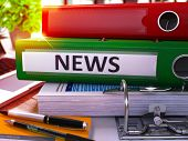 Постер, плакат: Green Office Folder with Inscription News