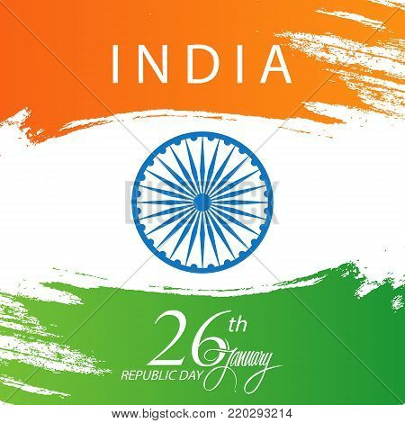 India happy republic day greeting card with brush stroke in colors india happy republic day greeting card with brush stroke in colors of the indian national flag m4hsunfo