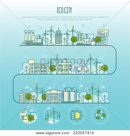 ecology city infographic vector template with thin line icons of