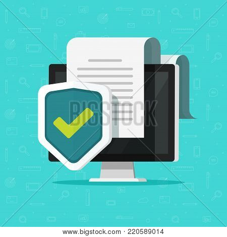 poster of Computer protection vector illustration, flat cartoon desktop pc with document protected via shield icon, confidential information or privacy security documentation access idea, secure data or guard