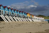 picture of beach-house  - Colored beach houses on the beach of Vlissingen Netherlands Europe - JPG