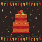 stock photo of mexican fiesta  - mexican party greeting card design with cake - JPG