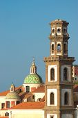 stock photo of salvatore  - Atrani cupola of church of Santa Maria Maddalena and belltower of church of Santissimo Salvatore Bireto Birecto - JPG