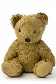 stock photo of teddy-bear  - a very old and shabby teddy bear on white - JPG