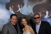 LOS ANGELES - JUL 23: Jon Favreau; Harrison Ford; Calista Flockhart at the 'Cowboys & Aliens' world premiere at the Civic Theater in San Diego, California on July 23, 2011