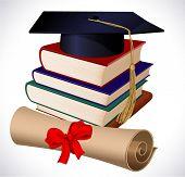 Graduation cap, books and diploma. Vector.