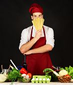 Food Preparation Concept. Chef With Smiling Face Holds Tomatoes poster