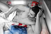 Conceptual fine art black and white photo of a guy in bed with certain elements highlited in color,