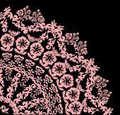 flower quadrant isolated on black background