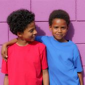 happy little african descent black children